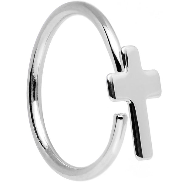 "20 Gauge 5/16"" Stainless Steel Divine Cross Nose Hoop"