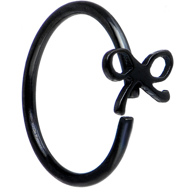 "20 Gauge 5/16"" Black IP Girly Bow Nose Hoop"