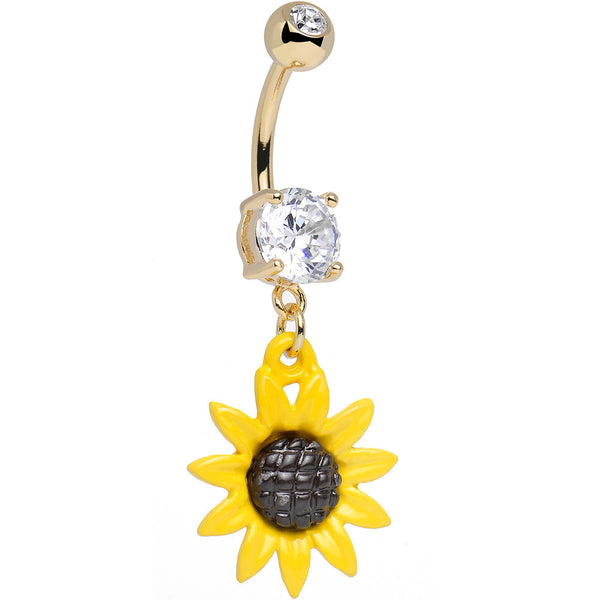 Clear CZ 14KT Gold Plated Cheerful Yellow Sunflower Dangle Belly Ring
