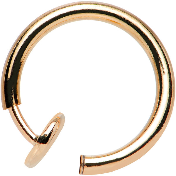 3/8? Rose Gold Titanium IP Spring Loaded Fake Body Jewelry Hoop