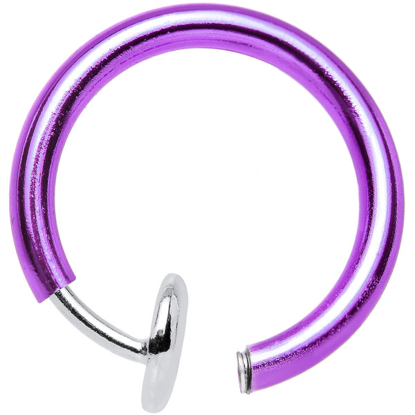 3/8? Purple Titanium IP Spring Loaded Fake Body Jewelry Hoop