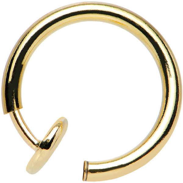 "3/8"" Gold Titanium IP Spring Loaded Fake Body Jewelry Hoop"