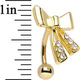 Clear CZ 14KT Yellow Gold Plated Brilliant Bow Top Mount Belly Ring