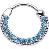 "16 Gauge 3/8"" Aqua CZ Ring of Brilliance Septum Clicker"