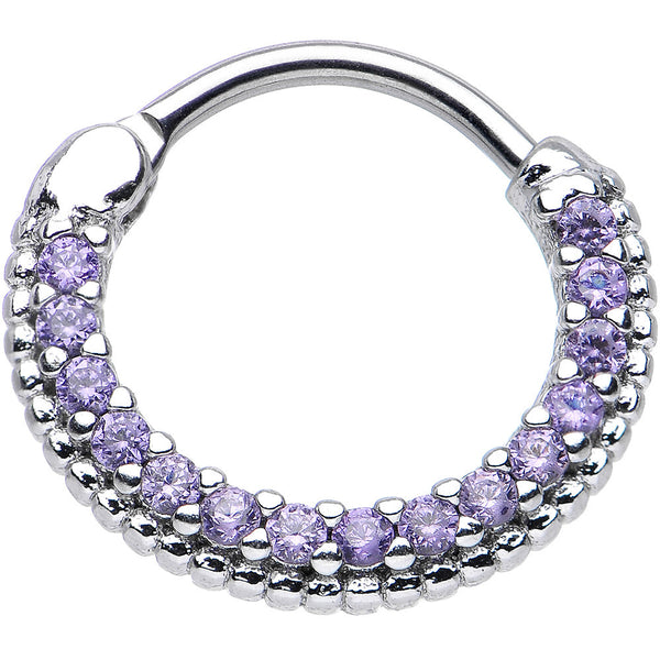 "16 Gauge 3/8"" Tanzanite CZ Ring of Brilliance Septum Clicker"