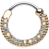 "16 Gauge 3/8"" Aurora CZ Gold IP Ring of Brilliance Septum Clicker"