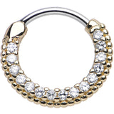 "16 Gauge 3/8"" Clear CZ Gold IP Ring of Brilliance Septum Clicker"