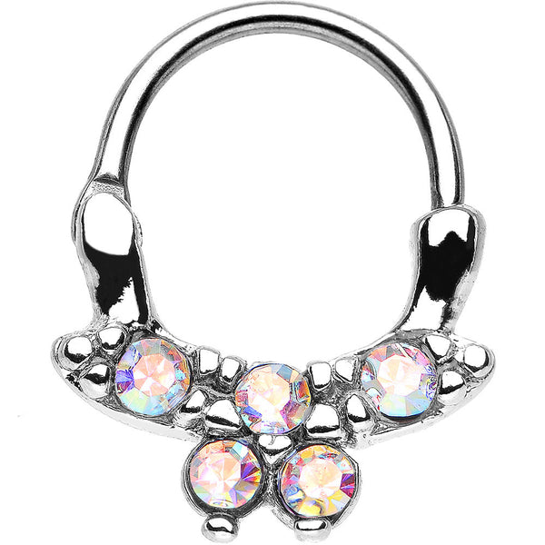 "16 Gauge 3/8"" Aurora CZ Bewitching Butterfly Septum Clicker"