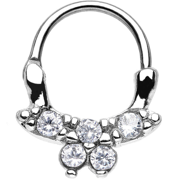 "16 Gauge 3/8"" Clear CZ Bewitching Butterfly Septum Clicker"