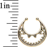 Gold IP Beaded Majesty Non-Pierced Clip On Septum Ring