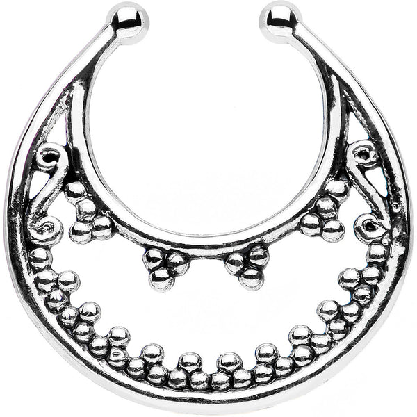 Beaded Majesty Non-Pierced Clip On Septum Ring