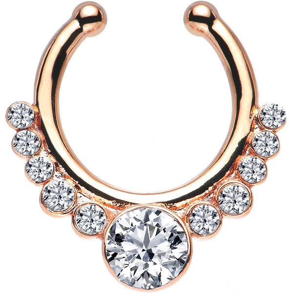 Clear Gem Rose Gold IP Pure Glamour Non-Pierced Clip On Septum Ring