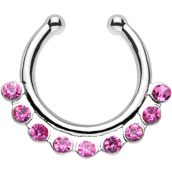 Pink Gem Row of Sparkle Non-Pierced Clip On Septum Ring
