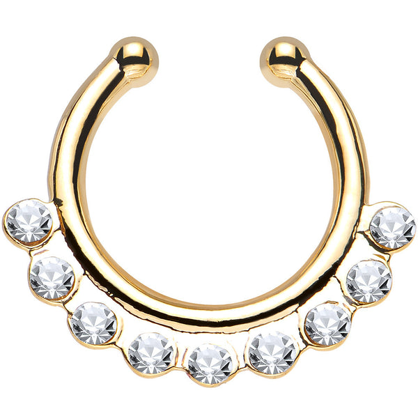 Clear Gem Gold IP Row of Sparkle Non-Pierced Clip On Septum Ring
