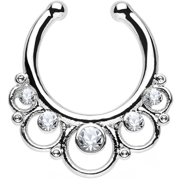 Clear Gem Vintage Collar Non-Pierced Clip On Septum Ring