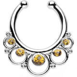 Yellow Topaz Gem Vintage Collar Non-Pierced Clip On Septum Ring
