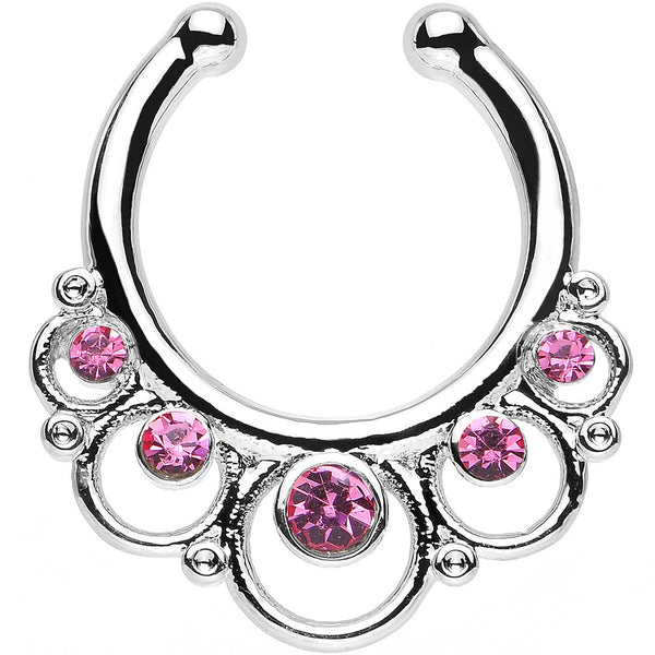 Pink Gem Vintage Collar Non-Pierced Clip On Septum Ring