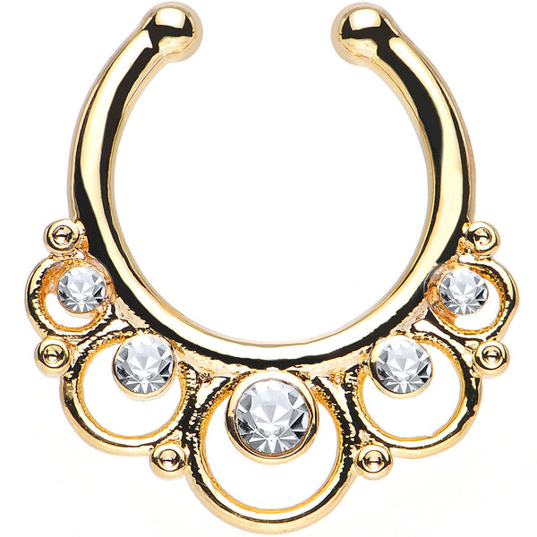 Clear Gem Gold IP Vintage Collar Non-Pierced Clip On Septum Ring