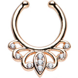 Clear Gem Rose Gold IP Burst of Beauty Non-Pierced Clip On Septum Ring