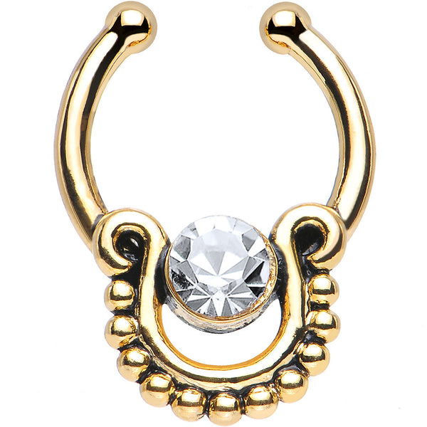 Clear CZ Gold IP Egyptian Queen Non-Pierced Clip On Septum Ring
