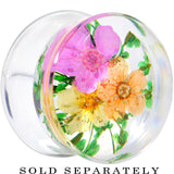 "5/8"" Clear Acrylic Green Multi Dried Spring Flowers Saddle Plug"