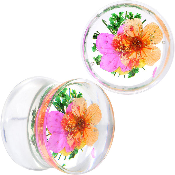 "9/16"" Clear Acrylic Green Multi Dried Spring Flowers Saddle Plug"