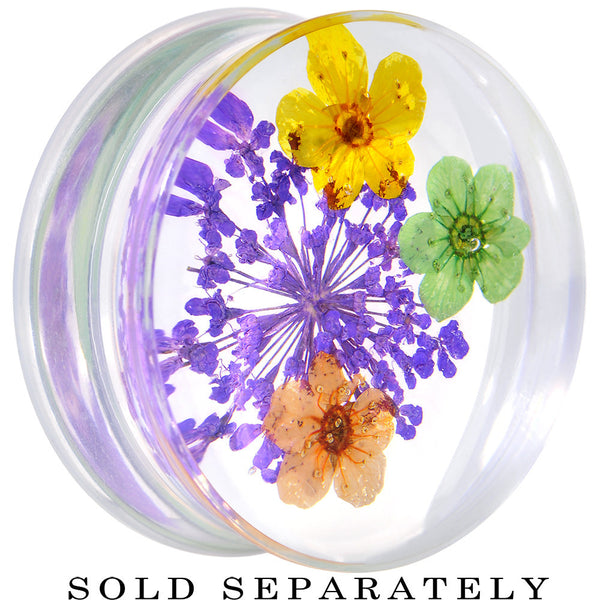 "1"" Clear Acrylic Purple Multi Dried Spring Flowers Saddle Plug"