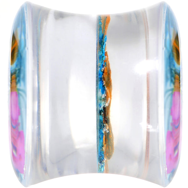 1/2 Clear Acrylic Blue Multi Dried Spring Flowers Saddle Plug