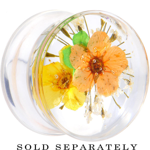 "5/8"" Clear Acrylic Yellow Multi Dried Spring Flowers Saddle Plug"