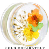 3/4 Clear Acrylic Yellow Multi Dried Spring Flowers Saddle Plug