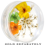 1 inch Clear Acrylic Yellow Multi Dried Spring Flowers Saddle Plug