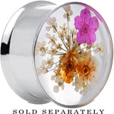 "7/8"" Acrylic Pink Orange Dried Spring Flowers Steel Saddle Plug"