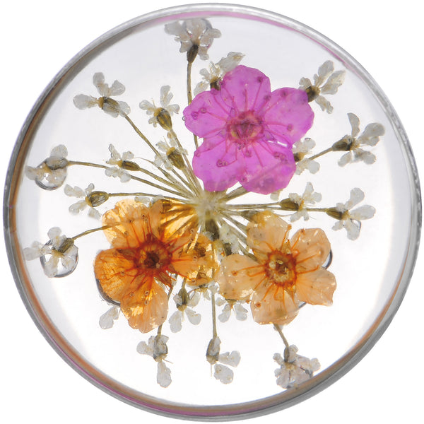 1 inch Acrylic Pink Orange Dried Spring Flowers Steel Saddle Plug
