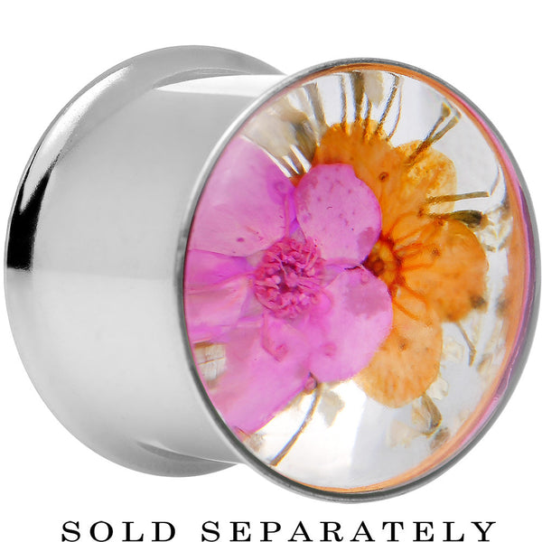 "9/16"" Acrylic Pink Orange Dried Spring Flowers Steel Saddle Plug"