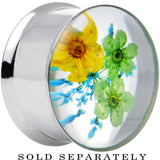 "7/8"" Acrylic Green Yellow Dried Spring Flowers Steel Saddle Plug"