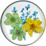 7/8 Acrylic Green Yellow Dried Spring Flowers Steel Saddle Plug