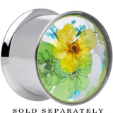 "5/8"" Acrylic Green Yellow Dried Spring Flowers Steel Saddle Plug"