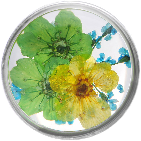5/8 Acrylic Green Yellow Dried Spring Flowers Steel Saddle Plug
