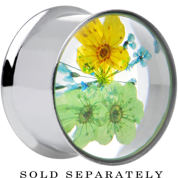 3/4 Acrylic Green Yellow Dried Spring Flowers Steel Saddle Plug