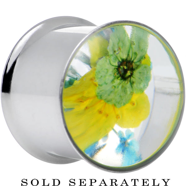 9/16 Acrylic Green Yellow Dried Spring Flowers Steel Saddle Plug