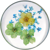 1 inch Acrylic Green Yellow Dried Spring Flowers Steel Saddle Plug