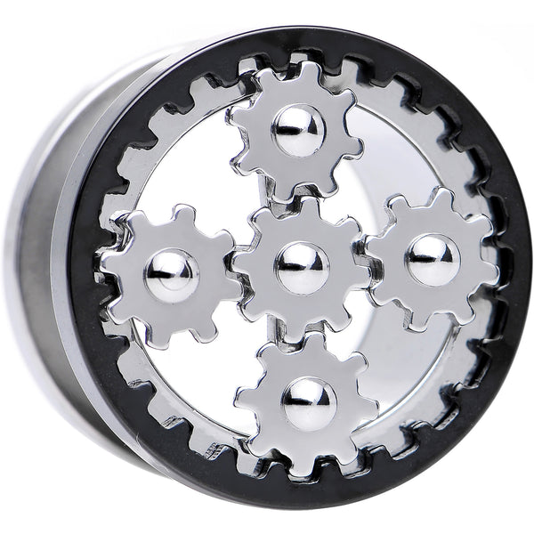 5/8 Stainless Steel Rotating Gears Screw Fit Tunnel Plug