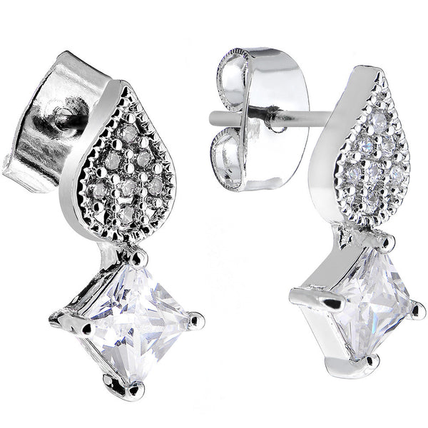 Clear Gem Sparkling Square and Falling Teardrop Stud Earrings