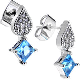 Aqua Gem Sparkling Square and Falling Teardrop Stud Earrings