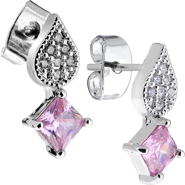 Pink Gem Sparkling Square and Falling Teardrop Stud Earrings