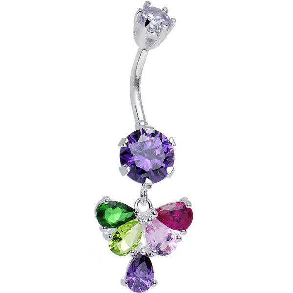 925 Sterling Silver Multi CZ Fluttering Butterfly Dangle Belly Ring