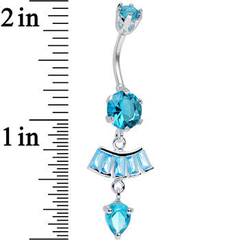 925 Sterling Silver Aqua CZ Fantastic Fan Dangle Belly Ring