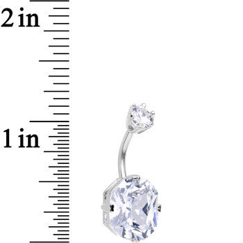 925 Sterling Silver Clear CZ Brilliant Octagon Belly Ring