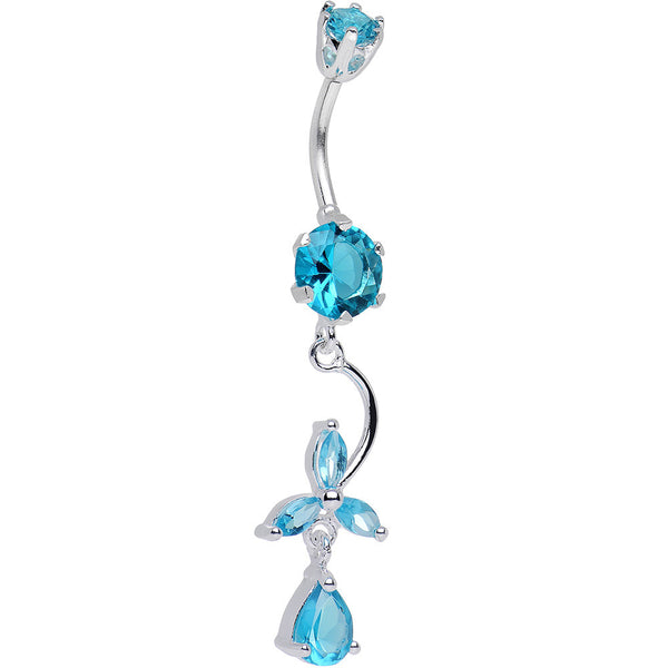 925 Sterling Silver Aqua CZ Three Petal Flower Dangle Belly Ring