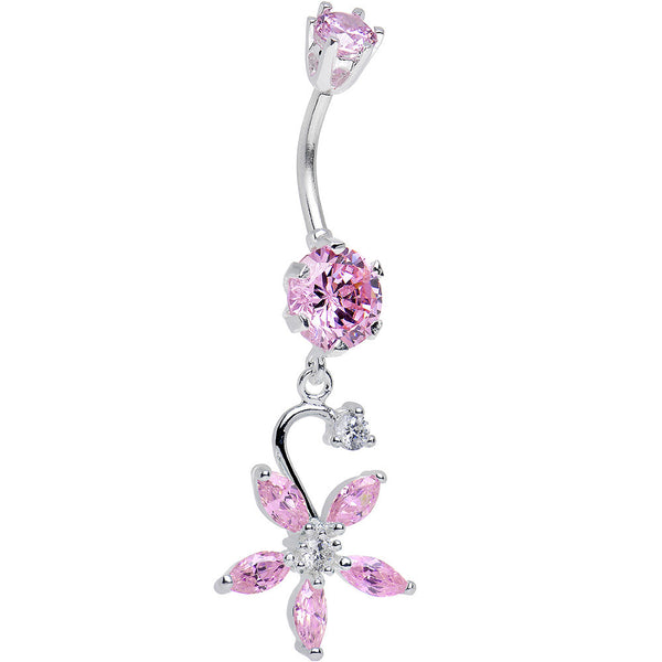 925 Sterling Silver Pink CZ Five Petal Flower Dangle Belly Ring
